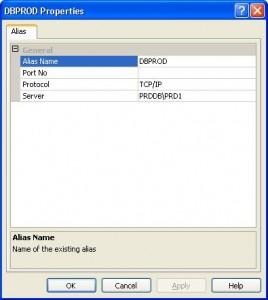 Configuring a SQL alias